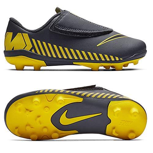 Nike Kunstrasenstiefel Vapor 12 Velcro, Grau - Grau/Gelb - Größe: 26 EU
