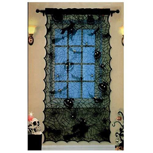Halloween-Dekoration, Schwarze Fledermäuse, Spinne, Hexe, Halloween, 42 x 84, Halloween, Gruselige Spitze, Webvorhang für Halloween, Party, Fenster, Tür-Dekoration
