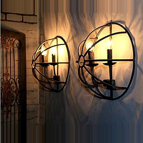 Retro Industrie Stil Eisen Wandleuchte Vintage Vogelbauer Design Café Wandlampe