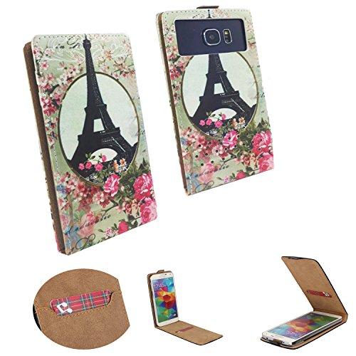 Handy Hülle für - Switel Champ S5003D - Flip Tasche mit Kreditkartenfach - Flip Nano M Paris Rose