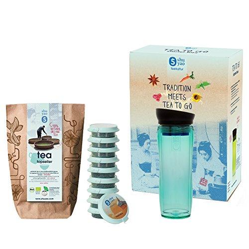 Tee-becher-set (SHUYAO Starter Box Tee to go, Teamaker (360ml) jade + Tee-Set mit 10 unterschiedlichen Teesorten, auslaufsicherer Thermobecher/Infuser mit integriertem Sieb, Tee-Becher und Trinkflasche für unterwegs)