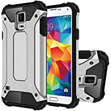 Galaxy S5 Funda, HICASER Híbrida Case [Heavy Duty] Rugged Armor Cover, Dual Layer Shock Resistant Carcasa para Samsung Galaxy S5 Plata