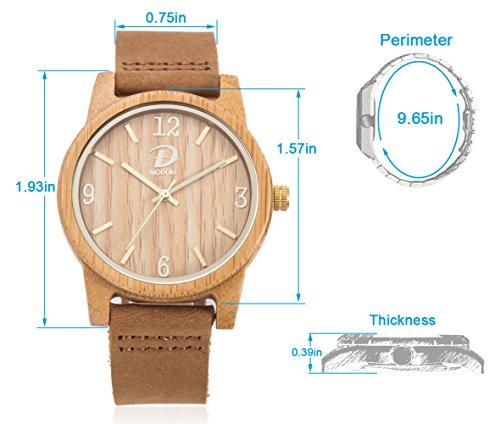40mm Holz Armbanduhr für Herren und Damen, echtes Leder-Bügel Band Business Casual Armbanduhren, Japanisches Miyota Quarzwerk Bewegung Vintage Natürliche Holz Uhren (Bambus) - 6