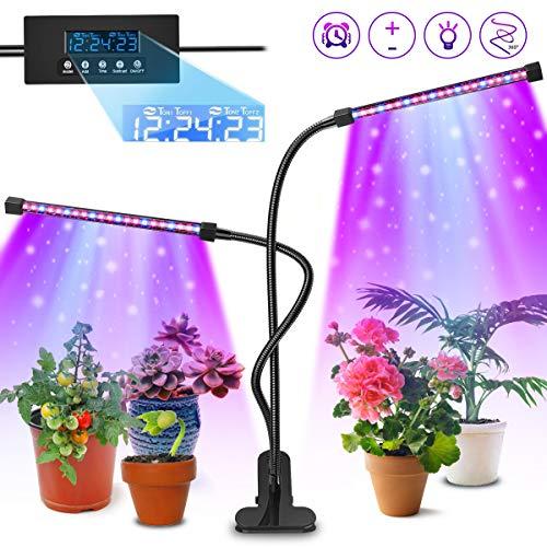 AODOOR Pflanzenlampe, 40 LED Pflanzenlicht mit Loop-Automatik-Timer, 20W Pflanzenleuchte Wachstumslampe Wachsen licht für Garten Zimmerpflanzen Überwinterung, 3 Arten von Modus, 5 Arten von Helligkeit