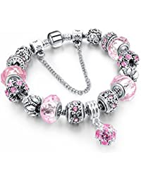 BS - Bracelet Charms - Argent Sterling, Cristal Rose - Collection exclusive 'Boîte de Pandore'