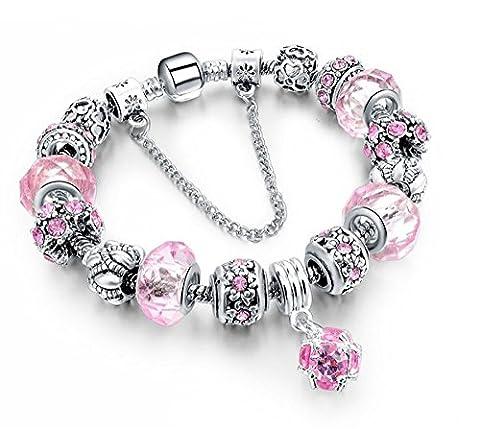 BS - Bracelet Charms - Argent Sterling, Cristal Rose -