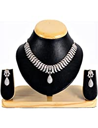 JSD Silver Plated Australian Diamond Stone Studded Necklace Set For Women With Chain