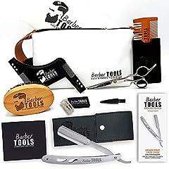 Idea Regalo - ✮ BARBER TOOLS ✮ Kit/Set / Cofanetto per la cura e manutenzione della barba e radersi