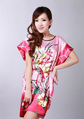 JTC Femme Vêtement de Nuit Robe Imprimé Chinois Avec Ceinture Rose
