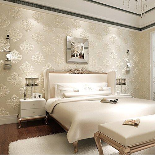 *im europäischen stil geprägt geprägt – dicken vlies blume – tapete wohn – und schlafzimmer, esszimmer hintergrund tapete,äußerst feine fasern hergestellten tapeten – beige,tapete nur*
