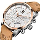 BENYAR Herrenuhr, Chronograph Quarz Leder wasserdicht Edelstahl-Uhr, Kalender Business Casual Luxus-Mode-Uhr(Rotgold weiß)