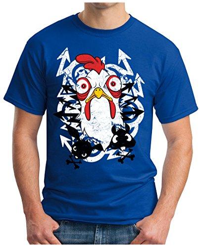 OM3 - ANGRY-CHICKEN - T-Shirt GEEK, S - 5XL Royalblau