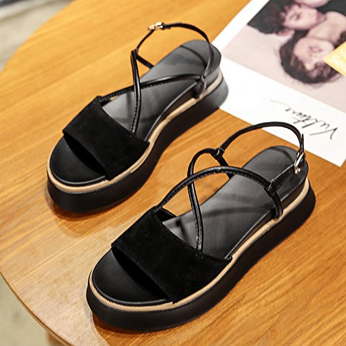 Lgk & fa estate sandali sandali da donna estate ragazze fondo piatto scarpe da donna scarpe Black