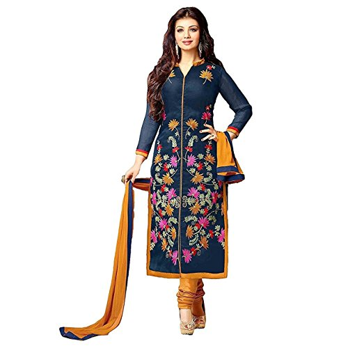 Z HOT FASHION Women Printed unstitched Salwar Suit\dress Material In Poly Cotton Fabric (Suits ZHTTP1007) Blue  available at amazon for Rs.199