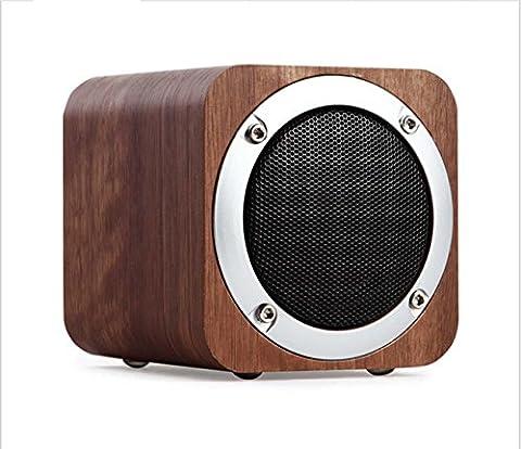 Téléphone mobile original sans fil Bluetooth audio téléphone en bois massif Haut-parleur Bluetooth haut-parleur carte portable , black walnut color
