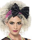 NET TOYS Haarreif mit Schleife 80er Jahre Spitzenhaarband pink-schwarz Schleifenhaarreif Achtziger Haarschmuck Neon Kostüm Kopfschmuck Mottoparty Outfit