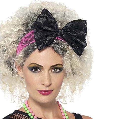 Bandeau pour cheveux années 80 Serre-tête avec voile rose-noir Bijou de cheveux 1980 accessoire déguisement fête à thème Serre-tête voilette costume fluo ruban
