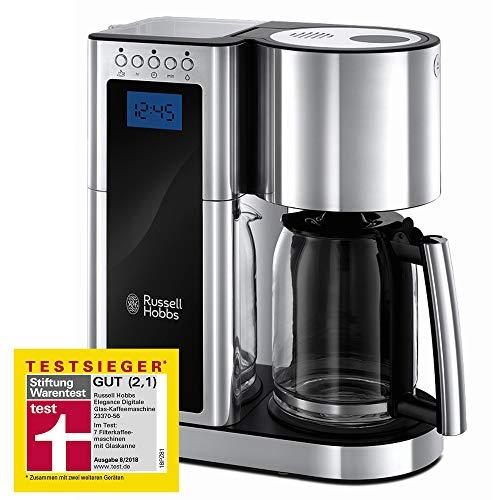 Russell Hobbs 23370-56 Digitale Glas-Kaffeemaschine Elegance, Testsieger, 1.25l, Schnellheizsystem, programmierbarer Timer, 1600 Watt, Edelstahl