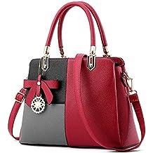 75eab85fb3aa3 Frauen Mehrfarbenhandtasche Kunstleder Tasche Top Griff Tasche  Umhängetasche Reißverschluss Handtaschen