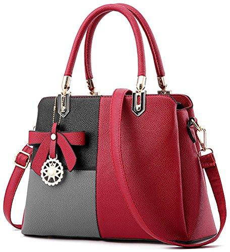 Frauen Mehrfarbenhandtasche Kunstleder Tasche Top Griff Tasche Umhängetasche Zip Top Cross Body Handtaschen(Rot mit Grau) (Top Zip-handtasche)
