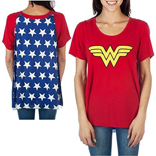 Woman Top Wonder Kostüm - Wonder Woman Shirt Damen Austauschbares Caped Kostüm T-Shirt - Rot - Mittel