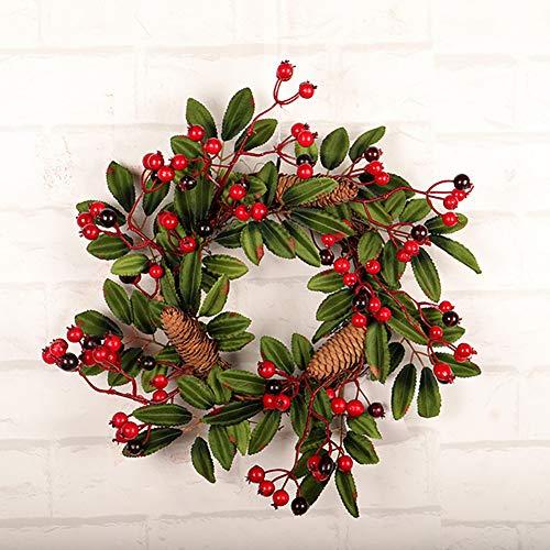 Outtybrave fai da te Decorazione natalizia ghirlanda di Natale verde pino cono vite corona decorazioni per albero di Natale