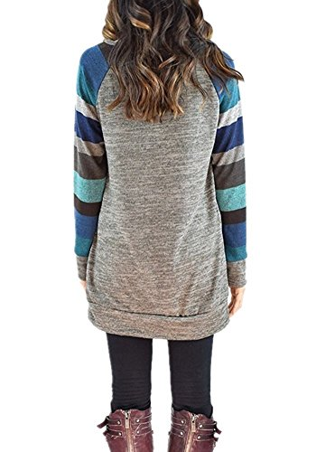 ASCHOEN Damen Rundhals Mehrfärblich Gestreift T-Shirt Oberteile Langarmshirt Loose Bluse Tops Blau