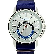 Relojes Calgary New Ashbury. Reloj Vintage para Hombre Correa de Tela Color Azul, Esfera
