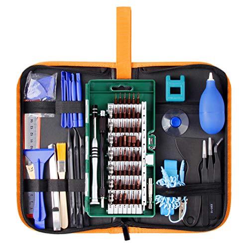 Juego de Destornilladores de Precisión 85 en 1, Juego de Herramientas de Reparación, Juego de Mangos Magnéticos Electrónicos de Primera Calidad con Bolsa de transporte, para Teléfono móvil, iPhone, iPad, Reloj, Tableta, PC, Ordenador Portátil, MacBook y más de WOWGO