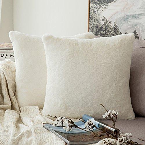 Confezione da 2, miulee molto soffice lusso warn series in finta pelliccia di coniglio, federa per cuscino per divano letto auto 45,7x 45,7cm 45x 45cm white
