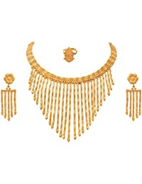 JFL - Traditional Ethnic One Gram Gold Plated Designer Necklace Set With Earring & Ring For Women & Girls.