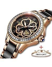 3f8b5d668f94 SUNKTA Relojes para Mujer Lujo Oro Rosa Relojes de Pulsera Moda Casual  Cerámica Banda 30M Impermeable Señoras Chicas Reloj Cuarzo…