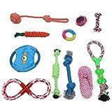 ePeTop Lot de 11pcs Jouets pour Chien Cordon de Tirage Balle Nœud Carotte Frisbee Tong Corde Boucle TPR Jouet à Mâcher Multicolore à Chiot