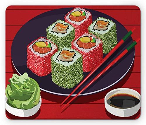 """Wasabi-Mauspad, Sojasauce und köstliche Sushi-Platte mit Essstäbchen-Cartoon-Komposition, rutschfestes Gummi-Mousepad in Standardgröße, Zinnoberrot, Mehrfarbig,Gummimatte 11,8\""""x 9,8\"""" , 3 mm Dicke"""