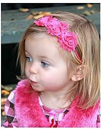 Fushia, bandeaux cheveux bébé/enfant triple roses