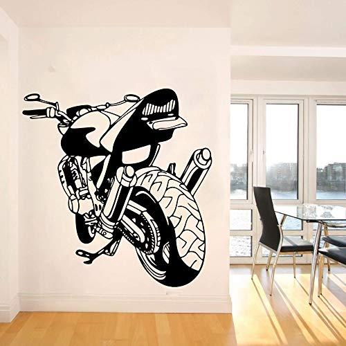 jiuyaomai Große Motorrad Motorrad Wandtattoo Garage Jungen Zimmer Motocross Racing Sport Auto Fahrzeug Wandaufkleber Schlafzimmer Büro Vinyl Decor 45 cm breit x 45 cm hoch