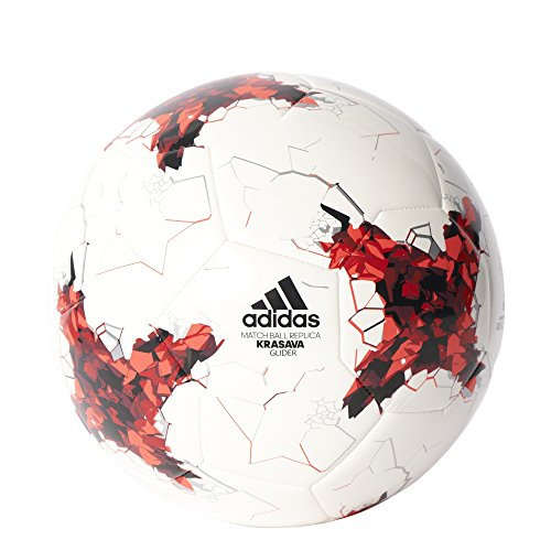 adidas Erwachsene Confederations Cup Glider Fußball, Top:White/Bright Red/Red/Black Bottom:Silver Metallic, 5