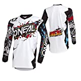 O'Neal Element Villain Motocross Jersey Enduro MX MTB FR DH Trikot All Mountain Bike Gelände, 001E-9-Adult, Farbe Weiß, Größe M