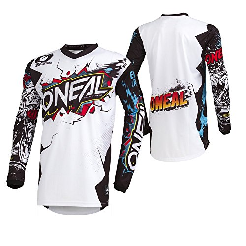 O'Neal Element Villain Motocross Kinder Jersey MTB Mountain Bike Trikot Enduro MX FR DH Kids, 002E-9-Youth, Farbe Weiß, Größe XL