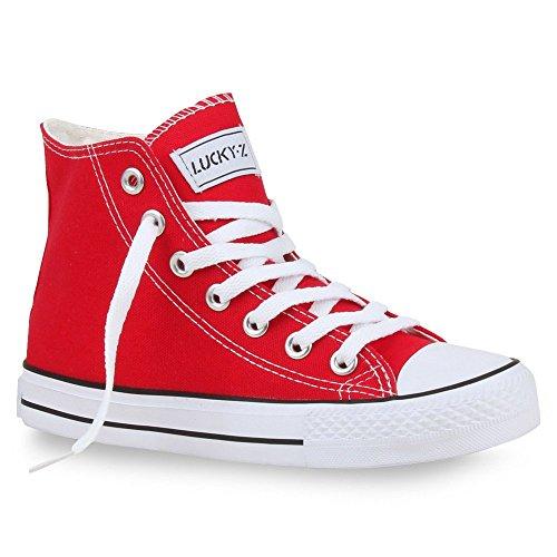 Stiefelparadies Sportliche Damen SneakersStoff Camouflage Schnürer Sneaker High Neon Sport Schuhe 26850 Rot 41 Flandell (Gelbe High Top Converse)
