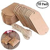 NUOLUX Cajas Vintage Kraft marrón a rústico Shabby envolver cajas de dulces de regalo con cuerda boda Favor paquete de 50