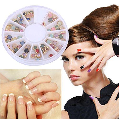 La Cabina Perles Rondes Colorées Ongles Nail art Strass Goujons Autocollants Déco pour Ongle