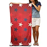 lilihome Bath Towel Blue White and Red Stars Funny Pattern Creative Patterned Soft Beach Towel 31