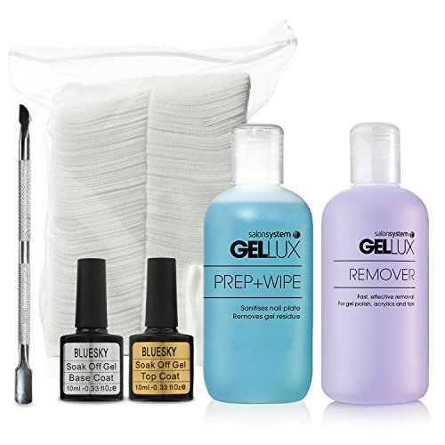 Bluesky Nail Gel Kit with Steel Cuticle Pusher, Soak Off Base & Top Coats, Prep+Wipe and Remover