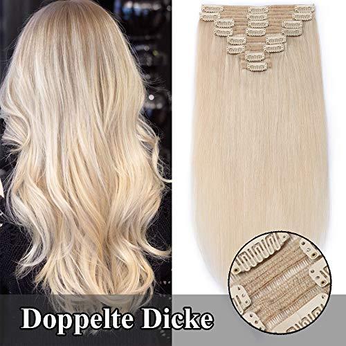 TESS Echthaar Extensions Clip in guenstig Haarverlängerung Doppelt Tressen für komplette Haarextension 8 Teile 18 Clips Glatt 7A Dick Hair (35cm-120g, 70 Platinblond)