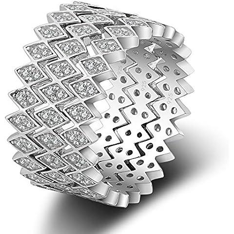 Plata de ley kissyan apilable Flecha anillo de banda de compromiso Eternity, color plateado