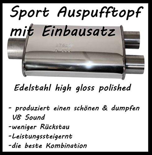 V2A Edelstahl Sport Auspufftopf (mit Doppel - Ausgang) (1500 2014 Endschalldämpfer Ram)