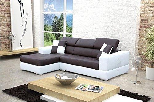 Canapé design d'angle madrid iv en cuir pu - noir et blanc - Angle gauche