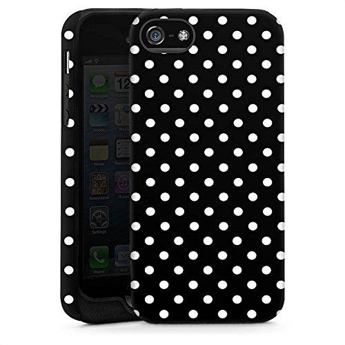 Apple iPhone 5 Housse Étui Silicone Coque Protection Points Noir et blanc Rétro Cas Tough brillant