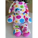 BUILD A BEAR SOFT PLUSH BUNNY WITH FLOWERS ALL OVER - 17 INCHES